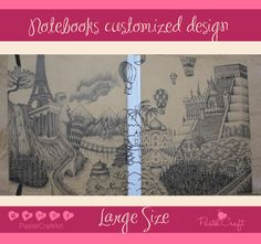 Notebooks/sketchbooks/journals Customized Design - Large Size 7''x8.5'' white paper. Coptic Stich. 100 sheets, 200 pages. Hard carboard