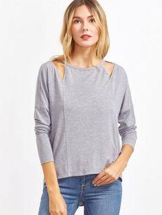 Heather Grey Cutout Neck Drop Shoulder High Low T-shirt