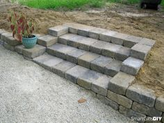 DIY Paver stairs, for steps going down to fire pit