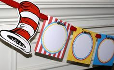 Seuss Cat in the Hat Inspired 12 Month (First Year) Photo Banner by Kidfully Celebrations Little Man Birthday, Twin First Birthday, Baby Birthday, Birthday Bash, Combined Birthday Parties, 3rd Birthday Parties, Birthday Party Decorations, Birthday Ideas, Cat In The Hat Party