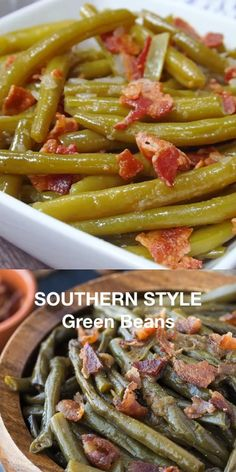 Southern Style Green Beans Southern Style Green Beans – A simple slow cooker recipe made with beans, bacon and onions! Green Beans With Bacon, Cooking Green Beans, Bob Evans Green Beans Recipe, Green Beans Slow Cooker, Slow Cooked Green Beans, Ranch Green Beans, Green Beans And Potatoes, Southern Style Green Beans, Southern Green Beans Crockpot