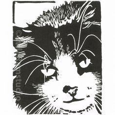 Mouser Cat - Original Hand Pulled Linocut Print £15.00