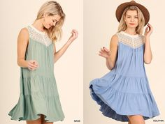 NEW UMGEE SLEEVELESS LACE DOLPHIN BLUE, SAGE GREEN DRESS G0708 SIZE S, M, L #UMGEE