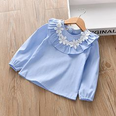 Fabric:Cotton; Sleeve Length:Long Sleeve; Look After Me:Machine wash; Gender:Girls'; Style:Basic; Kids Apparel:T shirt,Blouse; Age Group:Kids; Pattern:Floral; Design:Embroidered; Front page:FF; Net Weight:0.2; Listing Date:02/07/2021; Bust:; Length:; Sleeve:; Pattern Theme:Blue  White Little Girl Dress Patterns, Baby Girl Dress Patterns, Girls Frock Design, Fancy Dress Design, Baby Frocks Designs, Kids Frocks Design, Cute Baby Dresses, Little Girl Dresses, Vintage Kids Clothes