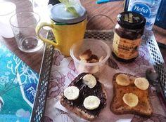 Delicious breakfast with dairy free chocolate hazelnut spread, Nocciolata, by mytotalway.