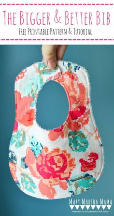 Free printable bib pattern and step by step tutorial- make the perfect, personalized baby gifts.