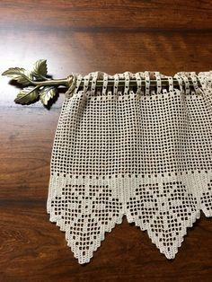 Items similar to Crochet Valence - Crochet Curtain - Handmade Curtain - Rustic Decor - Window Curtain - Housewarming Gift - Custom Valence - Custom Curtain on Etsy Crochet Curtain Pattern, Crochet Curtains, Curtain Patterns, Lace Curtains, Crochet Patterns, Débardeurs Au Crochet, Crochet Thread Size 10, Filet Crochet, Crochet Home