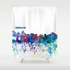 Buy Portland Oregon Skyline Silhouette Impressionistic Blast Shower Curtain By Artshop77 Worldwide Shipping Available At Society6