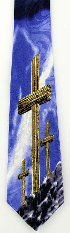 3 Crosses At Calvary Mens Necktie Christian Jesus Religious Easter Gift Tie New #StevenHarris #NeckTie