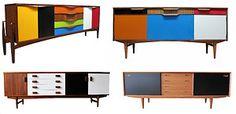 Upcycled Custom Design Painted Retro SIDEBOARD / Cabinet * Teak Rosewood Vintage