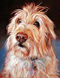 Barkley the super cute Golden Doodle. We had to use hair gel to keep the hair out of his eyes. Another custom dog painting from David Kennett at www.bffpetpaintings.com