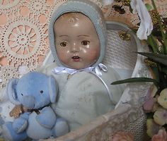 """24"""" ANTIQUE/VINTAGE COMPOSITION/CLOTH BABY DOLL   - TIN EYES"""