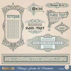 Vector Decorative Elements in Vintage Style
