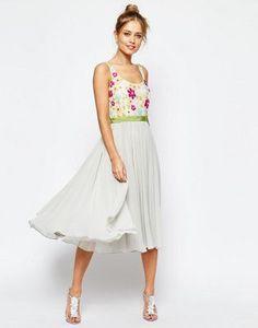 ASOS SALON Embellished Floral Bodice Midi Skater Dress With Green Grosgrain