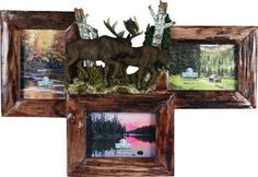 "Genuine Firwood frame with a hand painted realistic resin Moose scene. Approx overall size is 21""w x 15""h. Holds 3 - 4""x6"" photos. Includes glass inserts. SKU: 501"