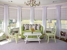 Sunroom Window Treatment - Princess Quarters - 9 Creative, Patterned Roman Shades on HGTV Lavender Girls Rooms, Green Girls Rooms, Purple Bedrooms, Girls Bedroom, Bedroom Ideas, Lavender Bedrooms, Teal Rooms, Bedroom Images, Master Bedroom