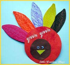 Turkey craft,Homemade Feather Rubbing Plate Turkey via Little Wonders' Days