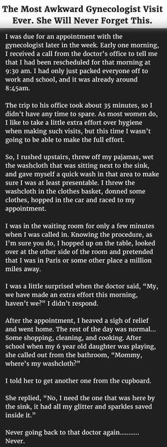The Most Awkward Gynecologist Visit Ever. She Will Never Forget This. funny quotes quote jokes story lol funny quote funny quotes funny sayings joke humor omg stories