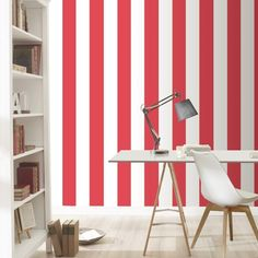 A modern red and white stripe wallpaper from the Just Me range by Rasch. Just Me Stripe Red / White Wallpaper. Samples cost £1 each. Roll Size:- 10.05m x 0.53m. Substrate:- Paste the Paper. AND FINALLY! | eBay! JODY