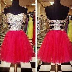 AHC170 Silvery Beaded Bodice Fuchisa Tulle Skirt Homecoming Dresses Short Prom Dresses