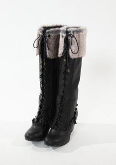 axes femme online shop   fur ruffle boots