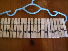 Awesome way to practice skip counting and work on fine motor skills in one. Clip the next number on the clothes hanger. This would be great for ABC and 123 sequencing too.