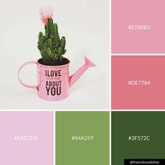 Crafters | Succulents | Pink and Green | |Color Palette Inspiration. | Digital Art Palette And Brand Color Palette.