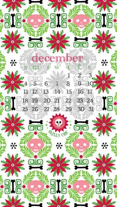 Free Skelly Chic wallpaper for your desktop & phone, plus free gift tags for your gifts! Happy December! www.skellychic.com