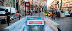 A subway entrance made of Lego bricks, Cordusio