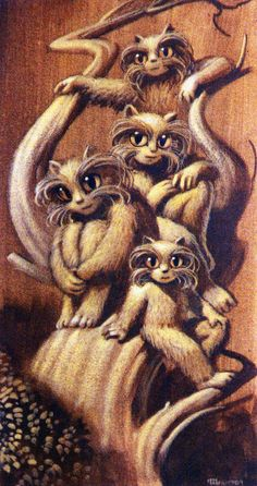 Michael Whelan artwork from H. Beam Piper's Little Fuzzy series -  Fuzzy Family