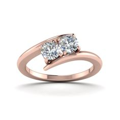 Promise Rings with White Diamond in 14K Rose Gold    Two Stone Diamond Ring   