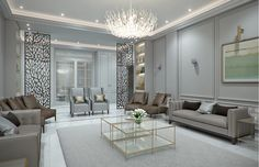 This exquisite modern classic villa interior design in Riyadh, Saudi Arabia displays classical elegance in chic high-quality materials with a collection of textures and colors that dapple the rooms with unique taste and style. Home Decor Bedroom, Classic Interior Design, Modern Interior, Luxury Home Decor, Decor Interior Design, Classic Living Room, Modern Classic Living Room, Interior Design, Modern Classic Interior