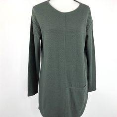 d082dfd9651e54 Pure Jill J Jill Womens Size M Dark Olive Green Quilted Knit Tunic Single  Pocket