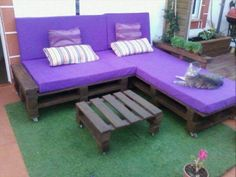 recycled pallet L shape sofa