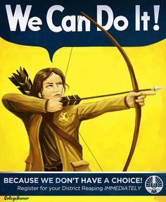 Katniss as Rosie the Riveter (via College Humor)