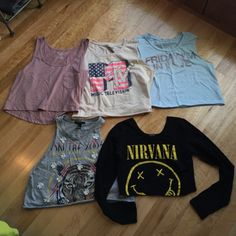Crop Top Bundle Listing 4 crop tops! Ones on the top are from American Eagle Outfitters, ones on bottom are from Forever 21.  All will fit size small. Any questions just ask! If you want a separate listing for any of these, just let me know! Forever 21 Tops Crop Tops