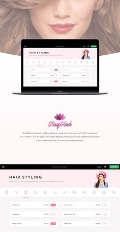 UI Design for StayGlad, Beauty Services At Home.