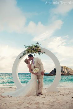Stunning beach wedding with moongate at The Fairmont Southampton   Bermuda Photographer - Amanda Temple
