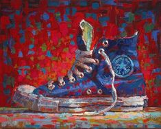 "Daily Paintworks - ""Converse Hi-Top Blue"" - Original Fine Art for Sale - © Raymond Logan"