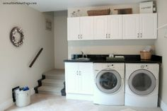 Laundry room www.somuchbetterwithage.com...space above cabinets...nice and simple.