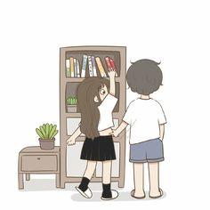Cute Couple Cartoon, Cute Cartoon Pictures, Cute Love Cartoons, Cute Images, Anime Chibi, Kawaii Anime, Cute Black Wallpaper, Cute Couples Photos, Couple Photos