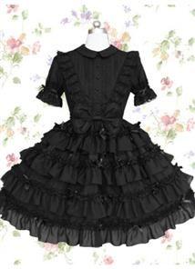 Graceful Black Cotton Turndown Collar Short Sleeves Knee-length Gothic Lolita Dress