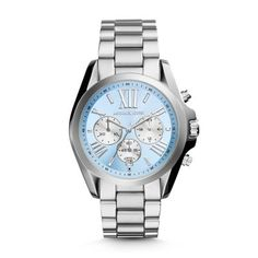 Bradshaw Chronograph Stainless Steel Watch - Silver Tone The Michael Kors' Bradshaw watch embraces the colors of the season with a pastel palette featuring a chambray blue dial and a gray stainless steel bracelet. Click to View Our Michael Kors 2-Year Warranty