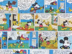 Mickey Mouse Comic Strip Fabric / Vintage Style / Disney /BTY. $10.00, via Etsy.