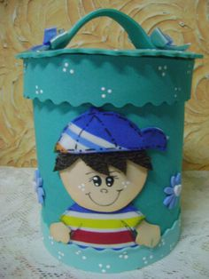 Tin Can Crafts, Diy And Crafts, Foam Sheets, Baby Art, Pen Holders, Handicraft, Quilling, Lunch Box, Baby Shower
