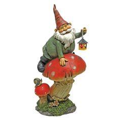 Design Toscano Tesla With The Lamp Garden Gnome Statue, Multicolored