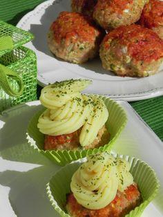 Cup cakes de pavo y pollo (albóndigas de pavo y pollo con cuscús, calabacín y puré de patata) | CocotteMinute