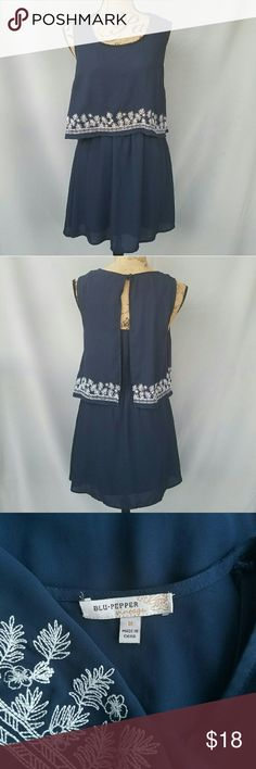 Blu Pepper Navy Dress Flowy, and full of movement! White floral trim along top layer, somewhat open back.  Feel free to ask me any questions. Happy shopping! Buckle Dresses Mini