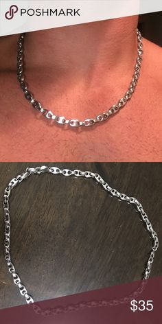 "20"" Stainless steel Gucci style link necklace This is a 20"" stainless steel Gucci link style necklace. This necklace has never tarnished and has a good sturdy look to it. This is not a Gucci brand. Gucci ""style"" link Accessories Jewelry"
