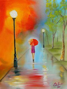 Rainy Day Red Umbrella - © Gordon Bruce - http://text.gordonbruce-modernartwork.com/RAINY-DAY-RED-UMBRELLA-STREET-SCENE-PAINTINGS